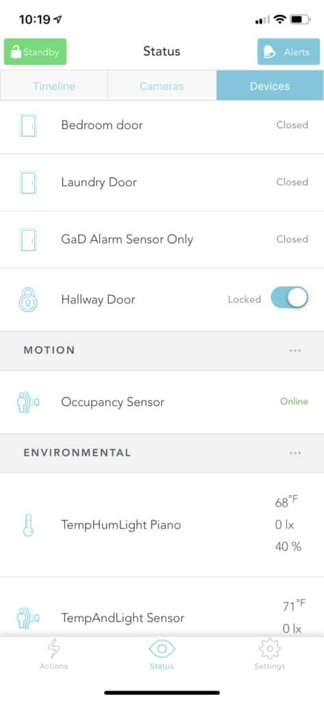Abode iOS App Devices Screen - including Sensors