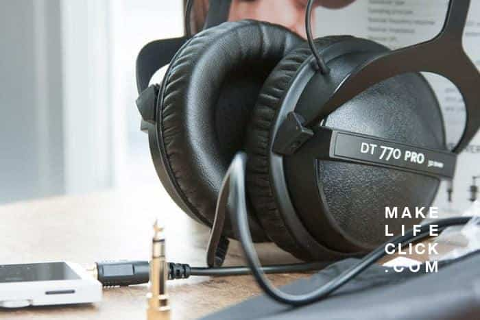 Photo of Beyerdynamic DT 770 Pro on table with music player and retail box for review